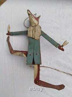 Jouet ancien rare renard articulé art populaire en tôle peinte fin XX ème