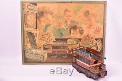 Jouet anciens. Tramway Petit Beurre Lu et Chromolithographie publicitaire Lu