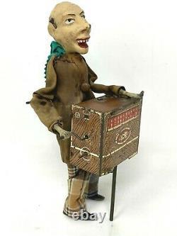 Joueur d'Orgue de barbarie Ancien jouet mécanique SIJIM automate Vers 1910