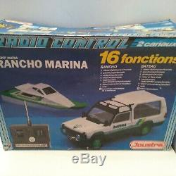 Joustra Matra Simca Rancho verte avec bateau radio commandé 1/18