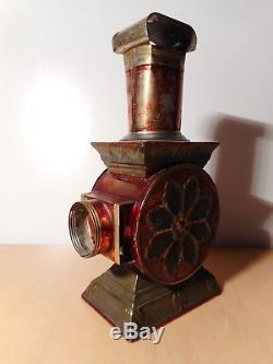 Lanterne magique ancienne tole projecteur ancien