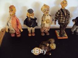Lot de sept anciens automates clowns mécanique à clef