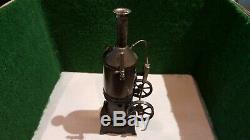 MARKLIN, BING, DC machine à vapeur vive verticale en tôle laquée noir début XXème