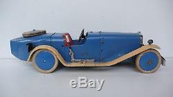 MECCANO VOITURE ROADSTER N°2 Lg 33 cm 1933 BON ÉTAT PNEUS CRAQUELÉS