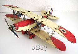 meccano france avion biplan grand mod le plane jouet ancien vers 1930. Black Bedroom Furniture Sets. Home Design Ideas