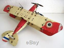 MECCANO france avion biplan grand modèle plane jouet ancien vers 1930