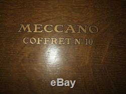 Meccano coffret bois N° 10 plus pièces, années 60
