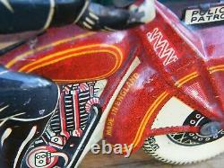 Mettoy Moto mécanique en tôle Police Patrol Années 30