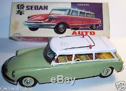 Original Tin Toy Mf Jouet Tole Citroen Ds ID 19 Break Verte Toit Blanc Box 1960