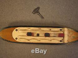 Paquebot Normandie, jouet en bois mécanique, bateau de bassin, 1945 libération