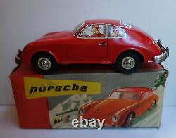 Porsche 356 à friction en tôle JOUSTRA n°2032 + boîte d'origine (1961)