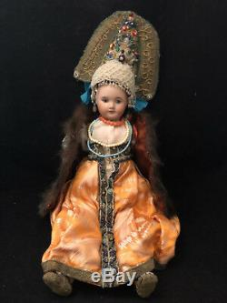 Poupée Ancienne à la Mode des Dames Russe du Temps du Tsar Antique Russian Doll