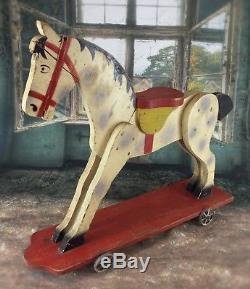 RARE Ancien jouet en bois de 1950 grand cheval à roulettes sellé 70 x 63 cm