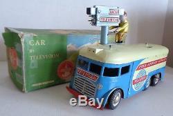 RARE JOUSTRA CAR TELEVISION 30cm TOLE circa 1960 ETAT NEUF BOITE Réf 668