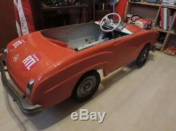 RARE VOITURE A PEDALES MERCEDES 190 SL TOLE PIERRE GUY A CHAINE 1956 1M35 no MG