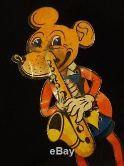 RARE ancien jouet souris Mickey musicien animé tôle lithographié 1930 Allemand