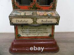 RARE ancien jouet tole tirelire des enfants sages distributeur bonbons chocolat