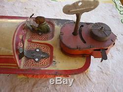 Rare Ancien Jouet 1936 Tole Litho Canot Joustra Hydroglisseur Tin Toy Racer 305
