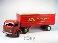 Rare Camion Tole JRD Simca Cargo 405 Transcontinental Express Rouge 50 cm