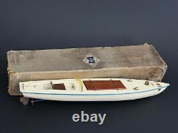 Rare Grand Canot Racer Electrique Type Boat En Boite Jouet Ancien Annee 1930
