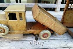 Rare Jouet garage camion ancien tôle début XXe voiture remontoir collection 39cm