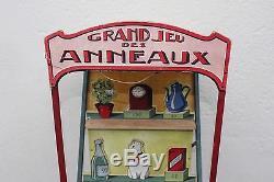 Rare ancien Grand Jeu Anneaux Café Estaminet lancé point bois champagne anneau