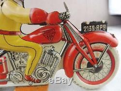 Rare ancienne moto / jouet en tôle mécanique, SFA Paris, France