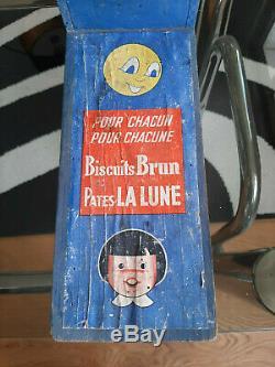 Rare camion présentoir publicitaire en bois Biscuits BRUN Pates LA LUNE