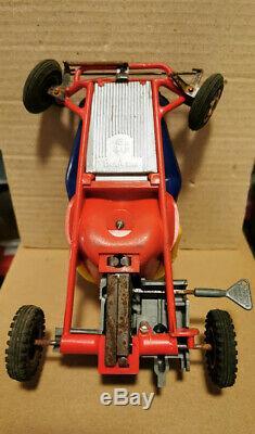 Rare jouet ancien Kart Joustra mécanique 1960 France 20cm no JEP CIJ