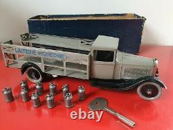 Rarissime Jouet Citroen Camion laitier gris avec clé d origine superbe état