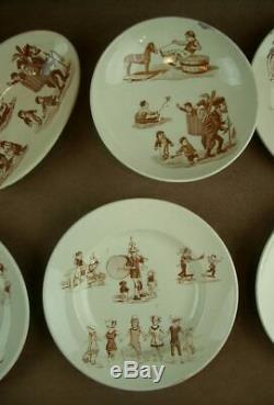 Superbe Partie De Dinette Ancienne En Faïence De Lunéville Décor Grandville