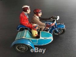 TRES RARE! 4 ancien moto tole motorcycle sidecar Tippco & Rico rsa