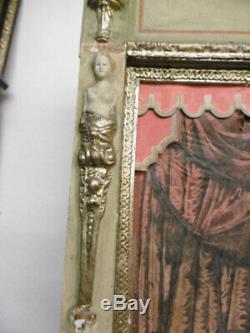 Theatre De Guignol Ancien Castelet En Bois Peint Fin Xixeme Decor Anges
