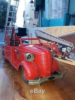 VEBE ref222 Camion pompier Jouet en tôle GRANDE ÉCHELLE Pompiers de Paris 40cm