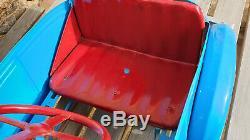 Voiture à pédales ancienne bleu Eureka EDF Devillaine Freres pneu bergougnan