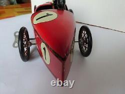 Voiture de course PAYA Rouge BUGATTI Jouet tôle lithographiée grand Modèle 51 cm