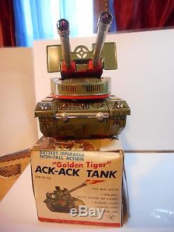 Yonezawa tank ack-ack tin toy tole usa m-57 golden tiger vintage boxed boite